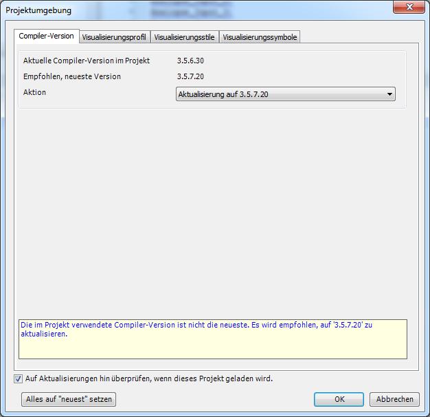 CODESYS Compiler-Version aktualisieren